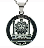 Masonic Pillars Pendant - Silver Color Stainless Steel Masonic Freemason Necklace Disc Shaped Charm Pillars, Altar, Square and Compass - Includes Chain Necklace