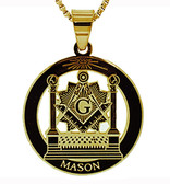 Masonic Pillars Pendant - Gold Color Stainless Steel Masonic Freemason Necklace Disc Shaped Charm Pillars, Altar, Square and Compass - Includes Chain Necklace