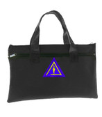 Royal Select Mason - Black Masonic Tote Bag for Freemasons - Classic Trowel Icon on Purple Background - Left Break