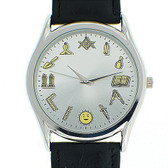 Working Tools - Masonic Watch - Black Leather Band - Round White Face Dial Watch with Artistic Freemasonry Symbolism