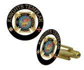 Knights of Templar Masonic Cufflinks - Gold tone with color enamel - Classic Freemasons Symbol. Masonic Regalia Merchandise for the Lodge