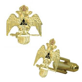 Scottish Rite 33rd Degree - Wings Down - Masonic Cufflinks - Gold tone with color enamel - Classic Freemasons Symbol. Masonic Regalia Merchandise for the Lodge