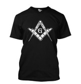 Black Masonic T-Shirt For Freemasons - Bold White Masonic Compass and Square in Center - V-Neck