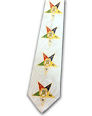 OES Neck Tie - Colorful Order of the Eastern Star on White Polyester long tie with duplicated Masonic OES pattern design