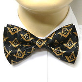 Bow Tie for Freemasons Lodge Attire - Pre-tied Black bow tie with Gold Masonry Compass and Square Design - Regalia Masonic Clothing Formal Suit or Tuxedo