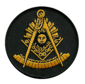 Past Master Masonic Patch - Unique gold symbol on black round surface for Freemasons