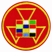 Past High Priest Masonic Patch - Colorful symbol on color red round surface for Freemasons