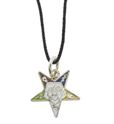 OES Dangling Pendant Silver Tone with Order of the Eastern Star Symbolism - Includes Black PVC Necklace OES_Star_Silver_Dangler_Made_Necklace_PVC_Rope