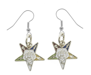OES Dangling Hook Earrings with Silver Tone Order of the Eastern Star Symbolism - One Pair. Great O.E.S Gift. OES_Star_Silver_Hook_Made_Earrings_Pair