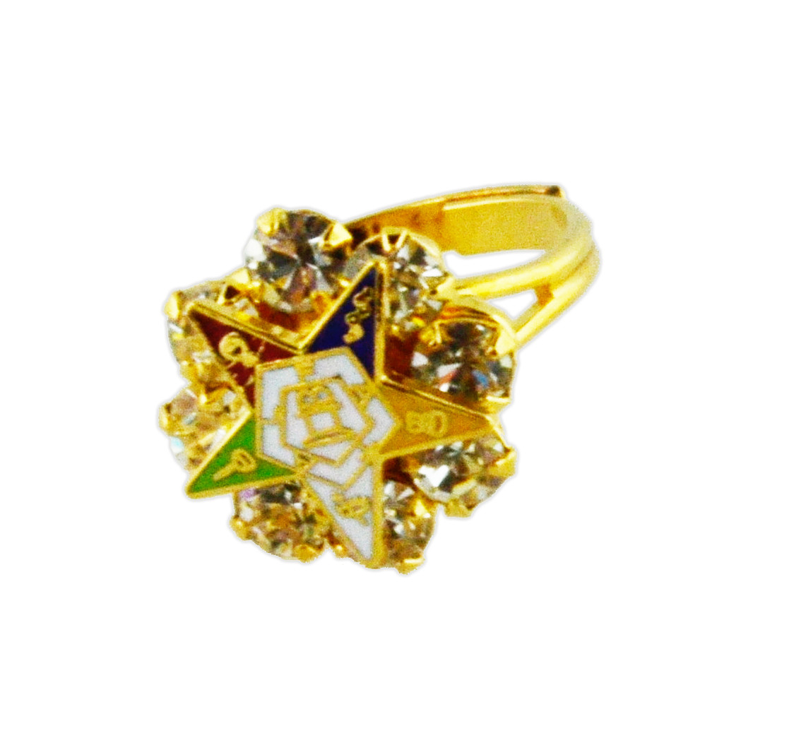 Oes Gold Plated Adjustable Ring With Cz Stones Order Of The