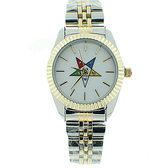Order of the Eastern Star Watch - OES Symbol on Dup Tone Silver with Gold Steel Band - White Face Dial