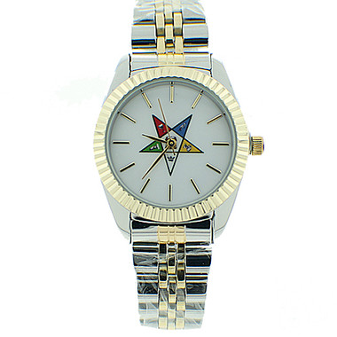 Image of Order of the Eastern Star Watch - OES Symbol on Dup Tone Silver with Gold Steel Band - White Face Dial