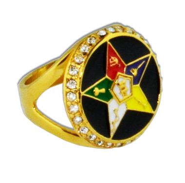 Order of the Eastern Star Ring - Black and Gold Tone CZ Stones - O.E.S Symbolism Jewelry
