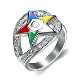 Order of the Eastern Star Ring - Side Loop Stainless Steel CZ ring with Silver Tone Band and OES Symbol. Masonic Jewelry.