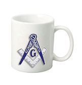 Masonic Gifts - White Ceramic Mug with Bold Blue Square & Compass logo - 10oz Coffee Mug