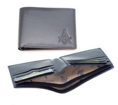 One (1) Masonic leather Wallet with Masonic Compass and Square. Multiple pockets and ID compartments - wallet for Freemasons