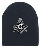 Masonic Hat Winter - Black Beanie Cap - Black and White Standard Masons Symbol. One Size Fits Most Freemasons Hat. Masonic Clothing, Apparel and Merchandise