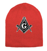 Masonic Hat Winter - red Beanie Cap - Black and White Standard Masons Symbol. One Size Fits Most Freemasons Hat. Masonic Clothing, Apparel and Merchandise