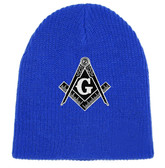Free Masons  Hat Winter - blue Beanie Cap - Black and White Standard Masons Symbol. One Size Fits Most Freemasons Hat. Masonic Clothing, Apparel and Merchandise