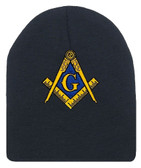 Masonic Hat Winter - Black Beanie Cap - Golden Compass Masons Symbol. One Size Fits Most Freemasons Hat. Masonic Clothing, Apparel and Merchandise