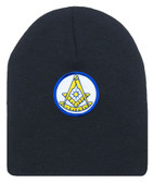 Freemason's Cap Winter - Black Beanie Hat with Bright Blue and Gold Past Master Masonic Symbol - One Size Fits Most. Freemason Merchandise, Clothing and Apparel.