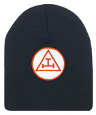 Royal Arch Masonic Beanie Cap. Black Winter Hat - Triple Tau Royal Arch Freemasons Symbol One Size Fits Most. Freemason Clothing Apparel and Merchandise