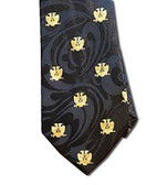 Scottish Rite Masonic Neck Tie - Black Background Polyester long tie - Double Eagle 32nd Degree pattern design for Freemasons