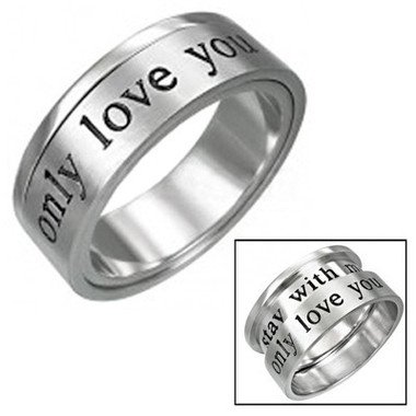 Womens - Only Love You - Promise Ring Lovers Commitment - 316L Stainless Steel.