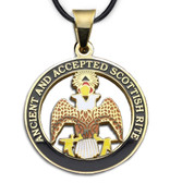 Scottish Rite - 33rd Degree Gold Color Stainless Steel Masonic Freemason Pendant Medal Charm. Crowned Double Headed Eagles. Includes Necklace