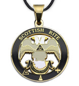 Scottish Rite 32nd Degree - Gold Color Stainless Steel Masonic Freemason Pendant Medal Charm. Double Headed Eagles. Includes Necklace