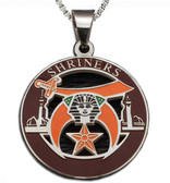 Shriners - Silver Color Stainless Steel Masonic Freemason Pendant Medal Charm. Includes Necklace