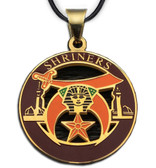 Shriners - Gold Color Stainless Steel Masonic Freemason Pendant Medal Charm. Includes Necklace