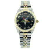 Order of the Eastern Star Watch - OES Symbol on Duo Tone Silver with Gold Steel Band - Black Face Dial