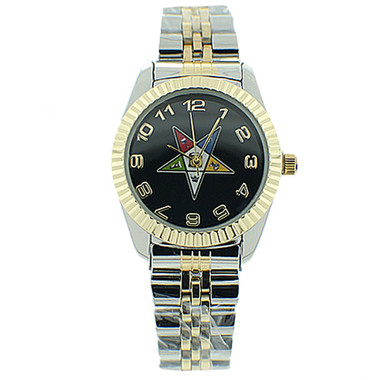 Image of Order of the Eastern Star Watch - OES Symbol on Duo Tone Silver with Gold Steel Band - Black Face Dial