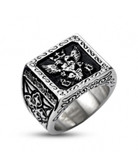 Silver Color Stainless Steel - 33rd Degree Scottish Rite Freemason Ring / Masonic Ring  - Crowned Double Headed Eagle Design