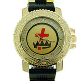 Knights of Templar Watch - Cross and Crown - Black Silicone Band - York Rite Masonic Symbol - Black, White and Color Face Dial Watch