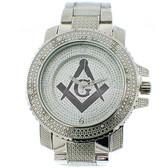 Masonic Watch - Steel Band - Freemason Symbol - Black and Silver Face Square and Compass Dial Watch