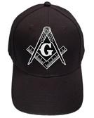 Freemason's Baseball Cap - Black Hat with Black and White Standard Masonic Symbol - One Size Fits Most Adults. Masonic Gifts