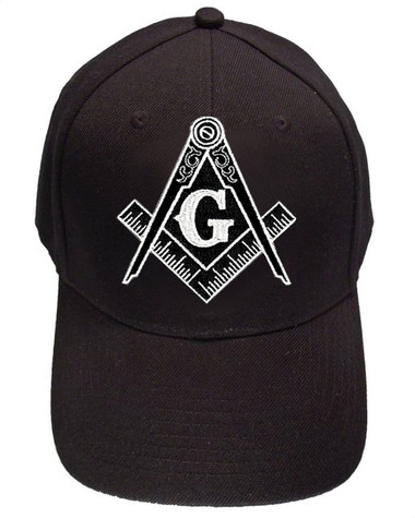 Freemason's Baseball Cap - Black Hat with Black and White Standard Masonic Symbol - One Size Fits Most Adults. Masonic Gifts Mason_Black_BaseballCap_Black_White_Vox