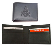 One (1) Masonic Black Leather Wallet with Large Centered Masonic Compass and Square. Multiple pockets and ID compartments - wallet for Freemasons
