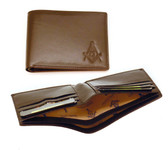 One (1) Masonic Dark Brown leather Wallet with Masonic Compass and Square. Multiple pockets and ID compartments - wallet for Freemasons
