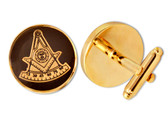 Round Shaped Masonic Cuff links - Black and Gold Color with Past Master Freemasons Symbol. Masonic Regalia Merchandise for the Lodge