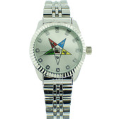 Order of the Eastern Star Watch - OES Symbol on Silver Color Steel Band - Silver Face CZ Dial