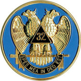 Freemasons Car Emblem Decal / Scottish Rite 32nd Degree Scottish Wings Down Bald eagles. Masonic bumper decal with black background for Freemasons