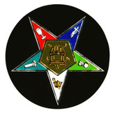 Order of the Eastern Star Car Sticker Decal - Black Masonic Car Emblem for OES with colorful cut out star.