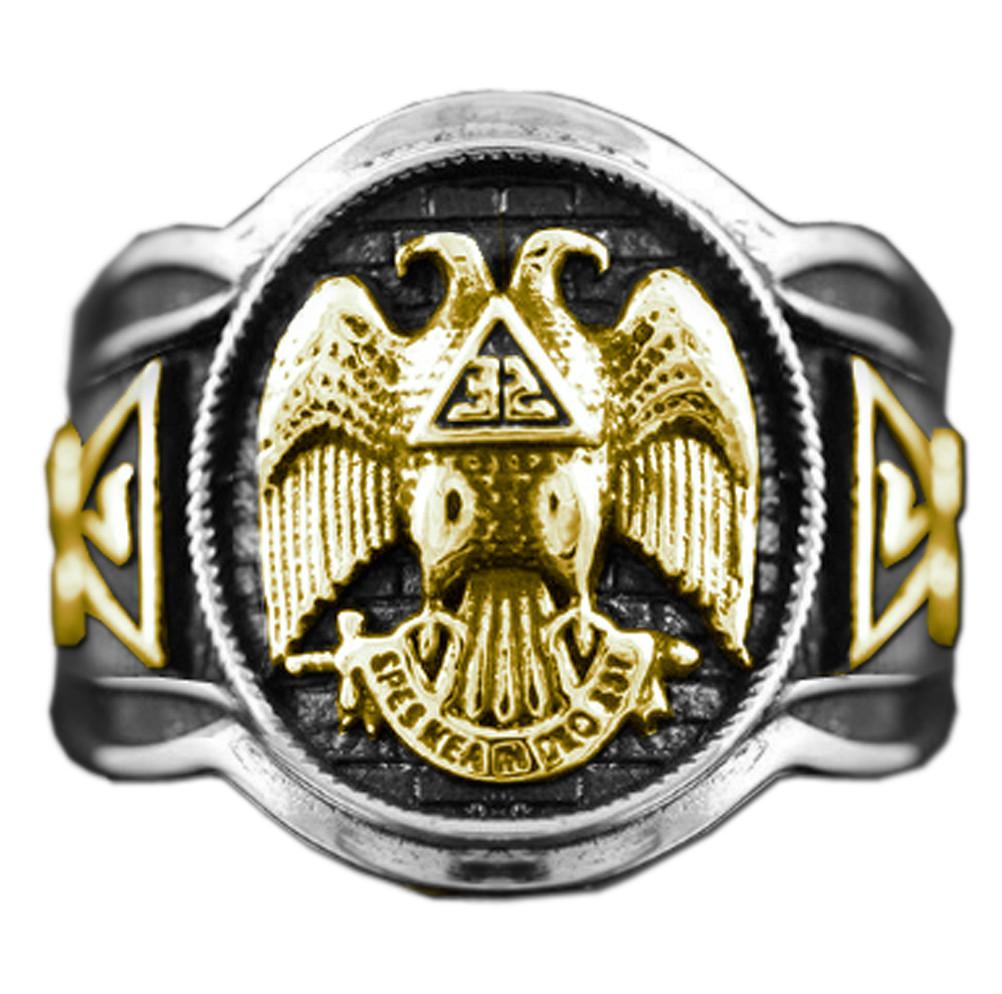 Duo Tone Scottish Rite Freemason Ring Rounded Masonic Ring 32nd