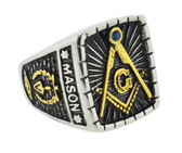 masonic rinsg for sale better than ebay Blue Lodge - Signet Duo-Tone Gold Icons and Silver Color Steel Band. Freemason Ring with Master Mason Symbol - Free and Accepted Masons - Masonic Rings for sale - Freemason Jewelry