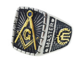 mason rings for men Gold Icons and Silver Color Steel Band. Freemason Ring with Master Mason Symbol - Free and Accepted Masons - Masonic Rings for sale - Freemason Jewelry