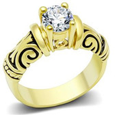 Womens Gold Plated Middle Stone Tribal Ring - Love and Promise Ring / Commitment Marriage Engagements