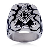 Steel Rocky Face Freemason Ring / Masonic Ring - Enamel & Stainless Steel Band for a Mason - masonic rings cheap